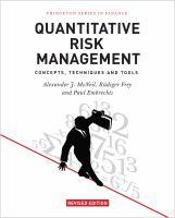 Quantitative risk management : concepts, techniques and tools