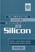Recombination lifetime measurements in silicon [electronic resource]