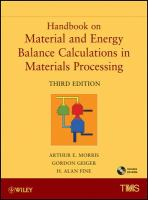 Handbook on material and energy balance calculations in materials processing [electronic resource]