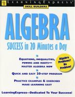 Algebra success in 20 minutes a day [electronic resource]