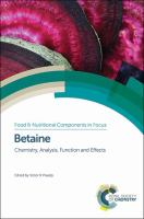 Betaine [electronic resource]: Chemistry, Analysis, Function and Effects