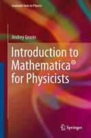 Introduction to Mathematica® for physicists cover