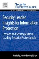 Security leader insights for information protection [electronic resource] : lessons and strategies from leading security professionals