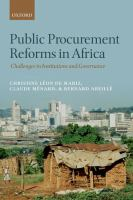 Public procurement reforms in Africa : challenges in institutions and governance