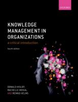 Knowledge management in organizations : a critical introduction /