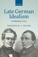 Late German idealism : Trendelenburg and Lotze