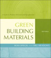 Green building materials : a guide to product selection and specification