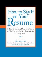 How to Say It on your Résumé