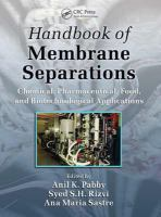 Handbook of membrane separations [electronic resource] : chemical, pharmaceutical, food, and biotechnological applications