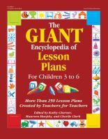 Giant Encyclopedia Of Lesson Plans For Children 3 To 6 : More Than 250 Lesson Plans Created By Teachers For Teachers