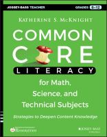 Common core literacy for math, science, and technical subjects [electronic resource] : strategies to deepen content knowledge (grades 6-12)