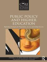 Public policy and higher education : reframing strategies for preparation, access, and college success