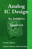 Analog IC design : an intuitive approach