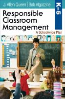 Responsible classroom management, K-5 : a schoolwide plan cover image