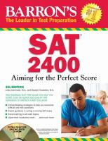 Barron's SAT 2400: Aiming For The Perfect Score [With CDROM]
