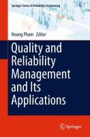 Quality and Reliability Management and Its Applications [electronic resource]