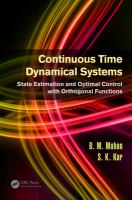 Continuous time dynamical systems [electronic resource] : state estimation and optimal control with orthogonal functions