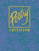 Poetry criticism. Volume 163 [electronic resource]