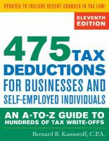 475 tax deductions for businesses and self-employed individuals : an a-to-z guide to hundreds of tax write-offs