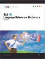 SAS(R) 9. 1 Language Reference Dictionary [electronic resource]