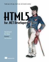 HTML5 for .NET developers : single page web apps, JavaScript and semantic markup