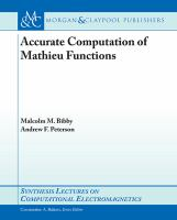 Accurate calculations of Mathieu functions [electronic resource]