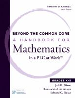 Beyond the common core : a handbook for mathematics in a PLC at work. Grades K-5
