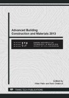 Advanced building construction and materials 2013 [electronic resource] : selected, peer reviewed papers from the 2013 International Conference on Advanced Building Construction and Materials 2013 (ABCM 2013), September 26-27, 2013, Kočovce, Slovakia