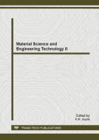 Material science and engineering technology II [electronic resource] : selected, peer reviewed papers from the 2013 2nd International Conference on Material Science and Engineering Technology (ICMSET 2013), November 16-17, 2013, London, United Kingdom