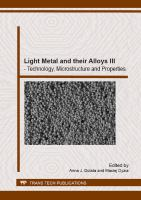 Light metal and their alloys III [electronic resource] : technology, microstructure and properties