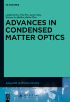 Advances in condensed matter optics [electronic resource]