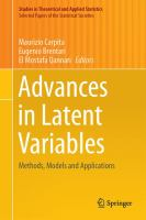 Advances in latent variables [electronic resource] : methods, models and applications