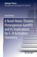 A Novel Heme-Thiolate Peroxygenase AaeAPO and Its Implications for C-H Activation Chemistry [electronic resource]
