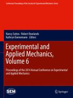 Experimental and applied mechanics : proceedings of the 2014 Annual Conference on Experimental and Applied Mechanics. Volume 6