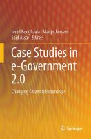 Case Studies in e-Government 2.0 [electronic resource] : Changing Citizen Relationships