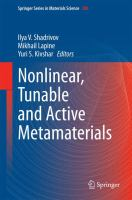 Nonlinear, Tunable and Active Metamaterials [electronic resource]