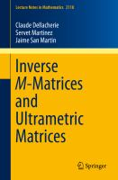Inverse M-Matrices and Ultrametric Matrices [electronic resource]