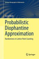 Probabilistic Diophantine Approximation [electronic resource] : Randomness in Lattice Point Counting