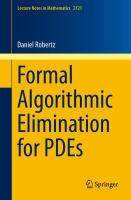 Formal Algorithmic Elimination for PDEs [electronic resource]