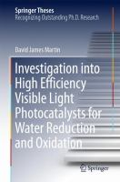Investigation into High Efficiency Visible Light Photocatalysts for Water Reduction and Oxidation [electronic resource]