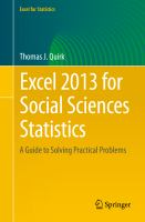Excel 2013 for Social Sciences Statistics [electronic resource] : A Guide to Solving Practical Problems