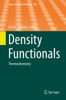Density Functionals [electronic resource] : Thermochemistry