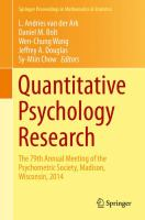 Quantitative Psychology Research [electronic resource] : The 79th Annual Meeting of the Psychometric Society, Madison, Wisconsin, 2014