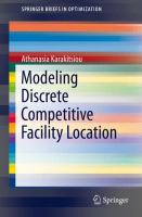 Modeling Discrete Competitive Facility Location [electronic resource]