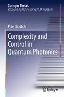 Complexity and Control in Quantum Photonics [electronic resource]