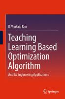Teaching Learning Based Optimization Algorithm [electronic resource] : And Its Engineering Applications
