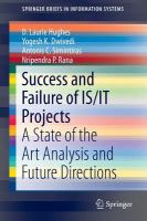 Success and failure of IS/IT projects [electronic resource] : a state of the art analysis and future directions
