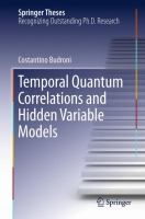 Temporal Quantum Correlations and Hidden Variable Models [electronic resource]