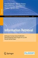 Information Retrieval [electronic resource] : 8th Russian Summer School, RuSSIR 2014, Nizhniy, Novgorod, Russia, August 18-22, 2014, Revised Selected Papers