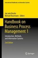 Handbook on Business Process Management 1 [electronic resource] : Introduction, Methods, and Information Systems
